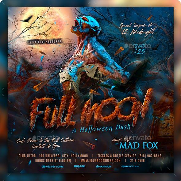 Full Moon Werewolf Halloween Party Flyer