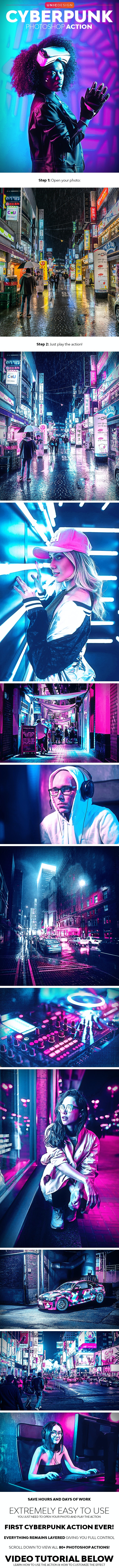 CyberPunk Photoshop Action - Photo Effects Actions