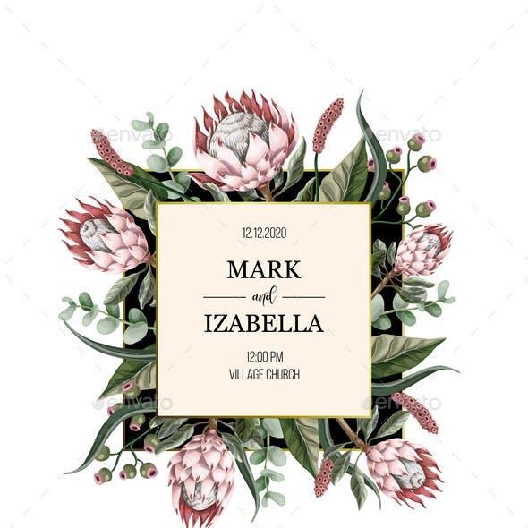 Wedding Invitation with Protea Flowers