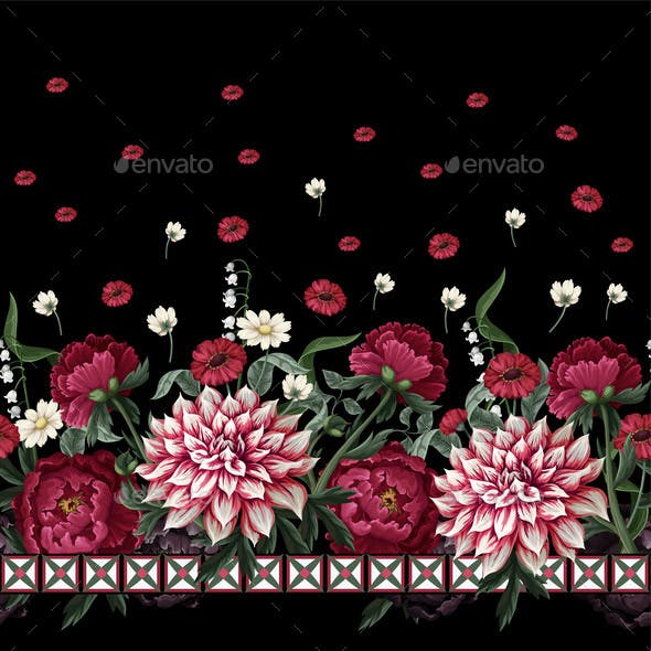 Seamless Pattern with Dahlia and Peonies