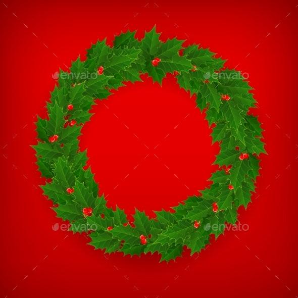 Christmas Holly Berry Wreath on Red - Christmas Seasons/Holidays