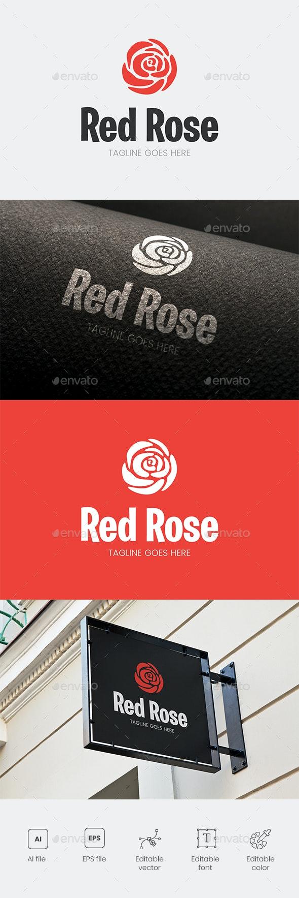 Red Rose Flower Logo - Nature Logo Templates