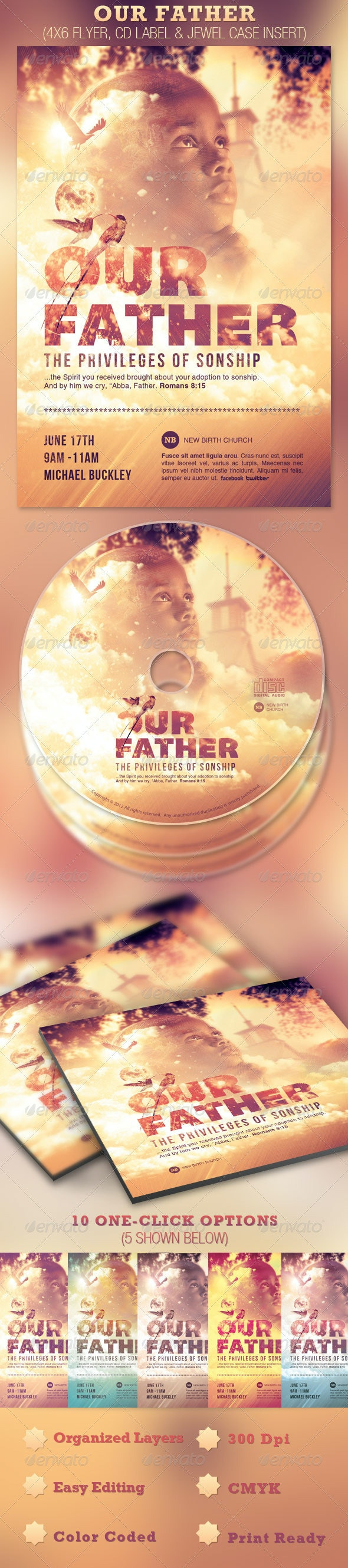 Our Father Flyer and CD Template - Church Flyers