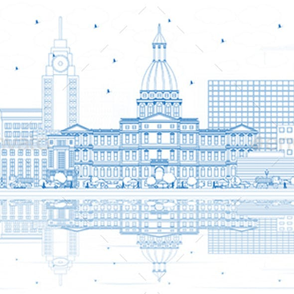 Outline Lansing Michigan City Skyline with Blue Buildings