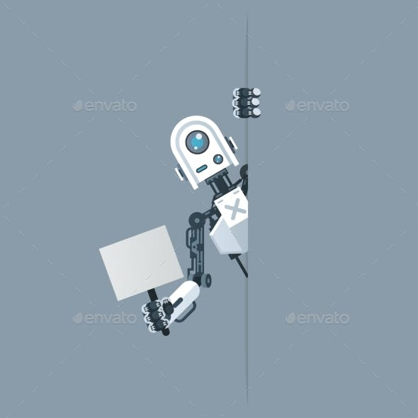 Humanoid Robot Look Out Corner with Poster in Hand