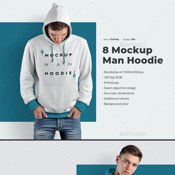 8 Men Hoodie Mockups