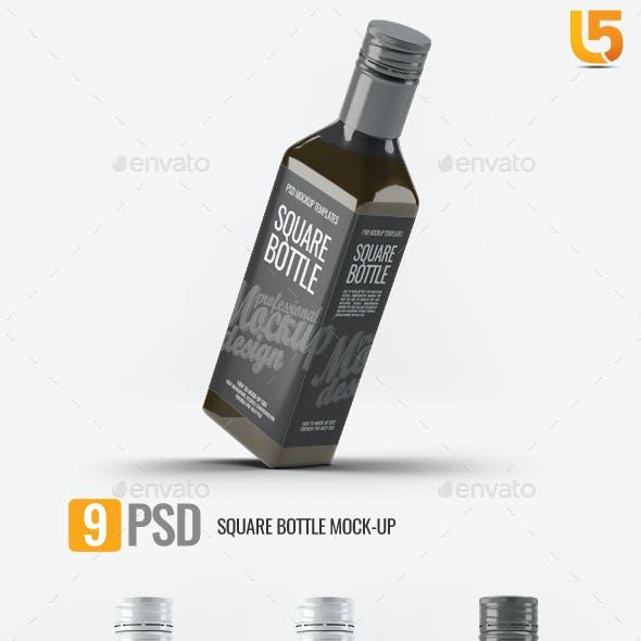 Square Glass Bottle Mock-Up