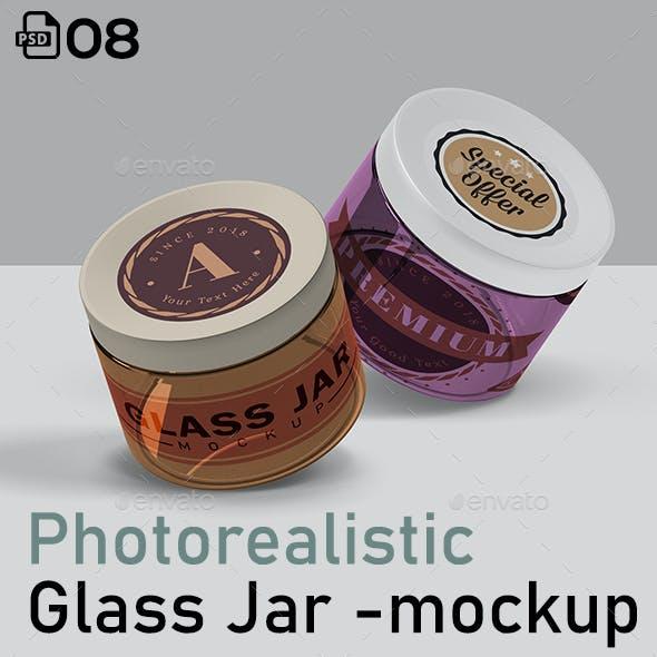 Photorealistic Glass Jar Mockup