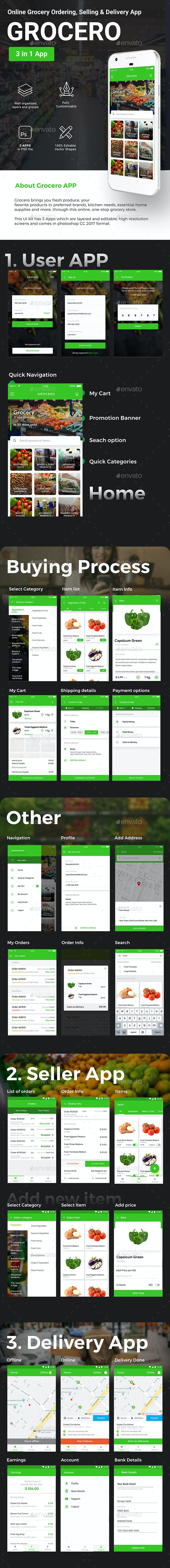 3 in 1 Grocery App UI Kit | Grocery Ordering, Selling & Delivery App | Grocero - User Interfaces Web Elements