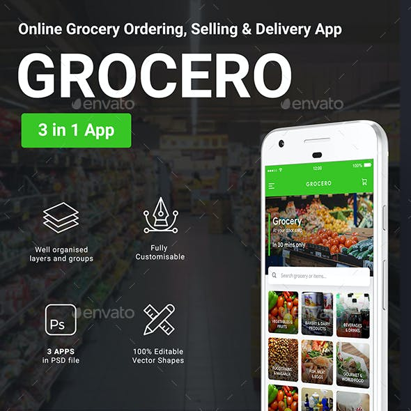 3 in 1 Grocery App UI Kit | Grocery Ordering, Selling & Delivery App | Grocero