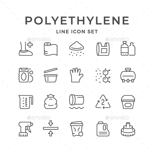 Set Line Icons of Polyethylene or Polythene - Man-made objects Objects