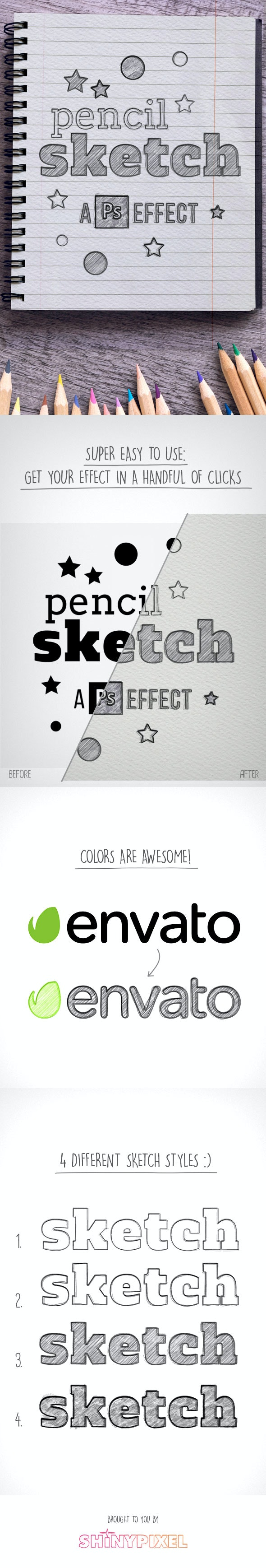 Pencil Sketch for Photoshop - Text Effects Actions