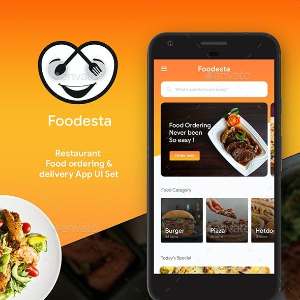 Online Food Ordering & Delivering App UI Set | Foodesta