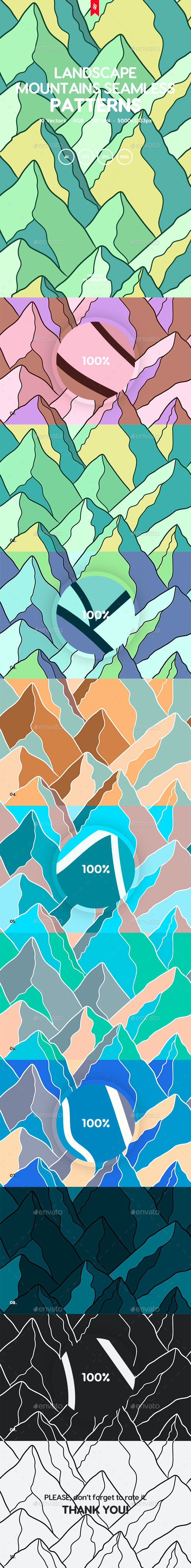 Landscape Mountains Seamless Patterns - Backgrounds Graphics