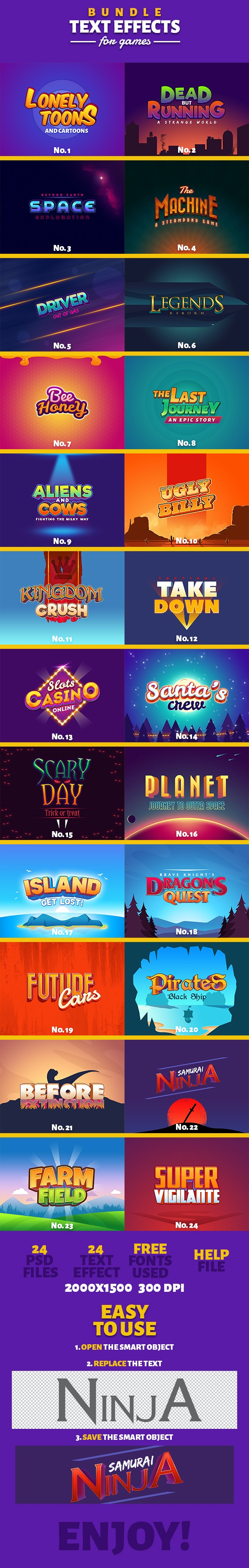 Text Effects For Games Bundle 1-3 - Photoshop Add-ons