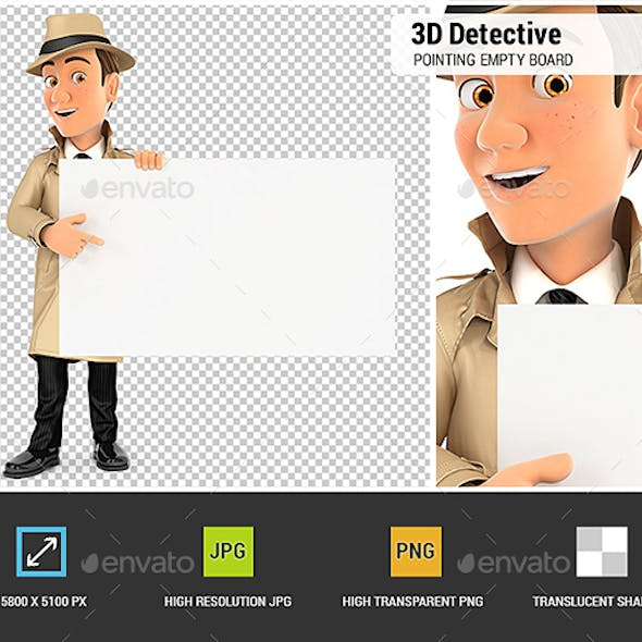 3D Detective Pointing Empty Board