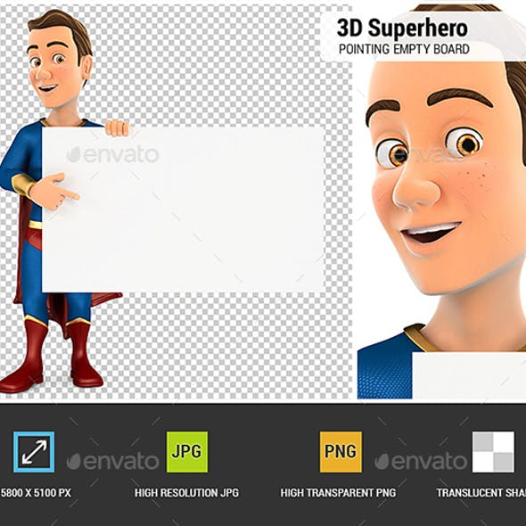 3D Superhero Pointing Empty Board