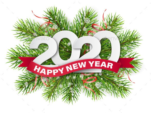 2020 Christmas Numbers 2020 Numbers on Christmas Tree Branches by belander | GraphicRiver