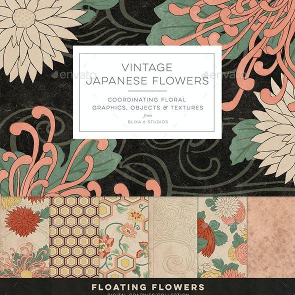 Vintage Japanese Flowers | Woodblock Printables & Digital Clipart Pack | Asian Backgrounds, Patterns