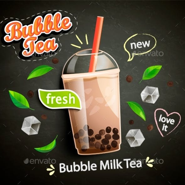 Bubble Milk Tea in Cup with Tapioca on Blackboard
