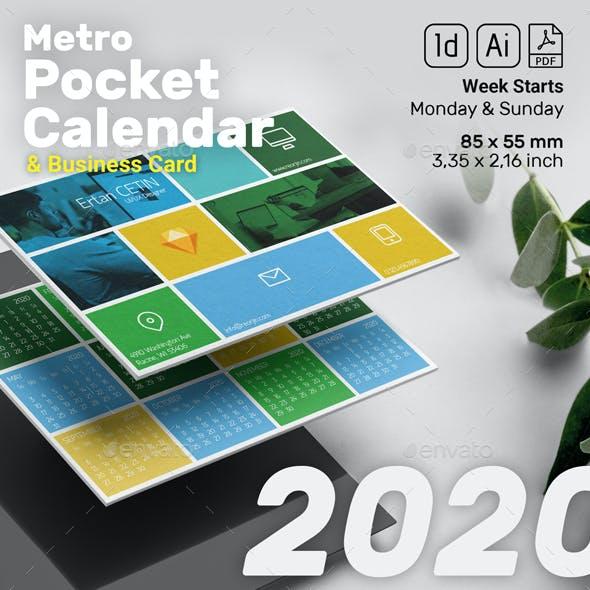 Pocket Calendar 2020 - 2019 - Metro Style