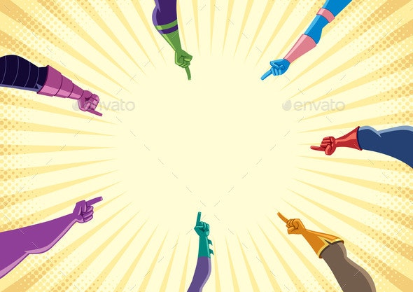 Superhero Hands with Pointing Fingers - People Characters