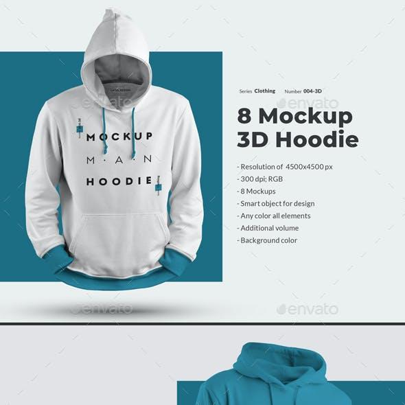 8 3D Men Mockups Hooddie