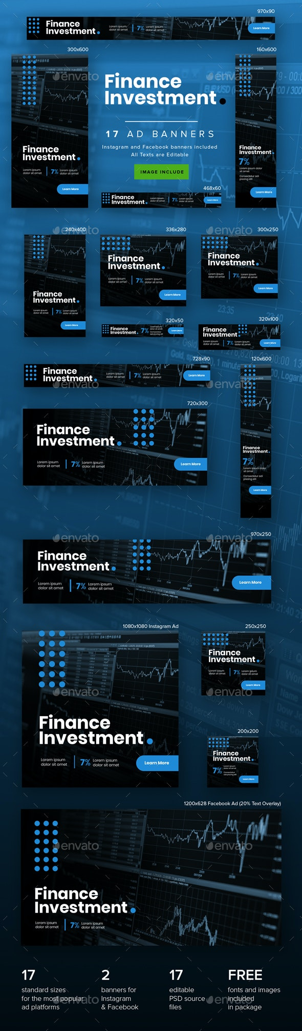 Finance Investment Ad Banners - Banners & Ads Web Elements