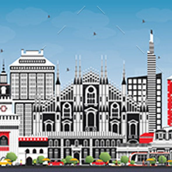 Milan Italy City Skyline with Color Buildings and Blue Sky