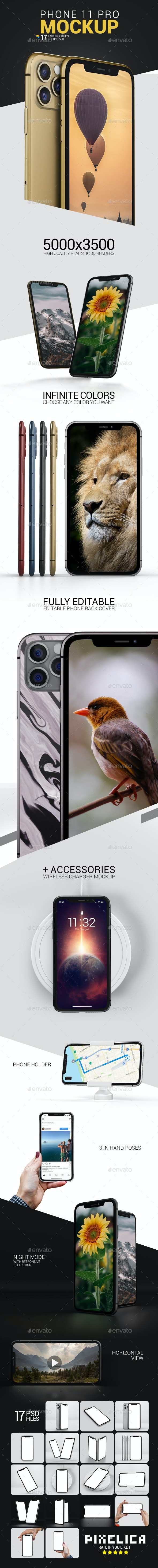 Phone 11 Pro Mockup Pack - Product Mock-Ups Graphics