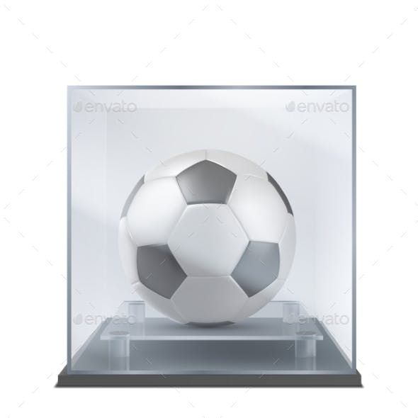 Soccer Ball Under Glass Case Realistic Vector