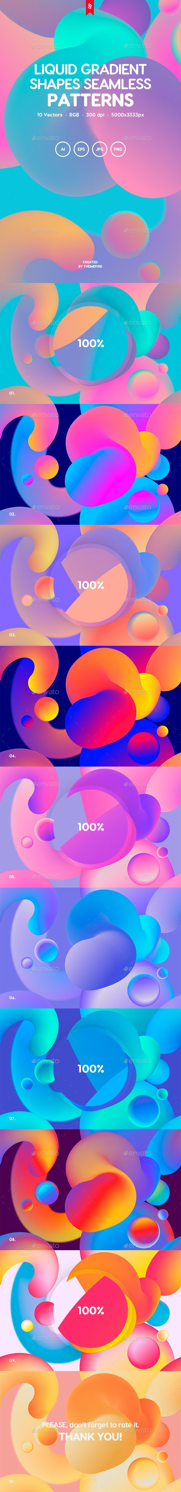 Liquid Gradient Shapes Seamless Patterns - Abstract Backgrounds