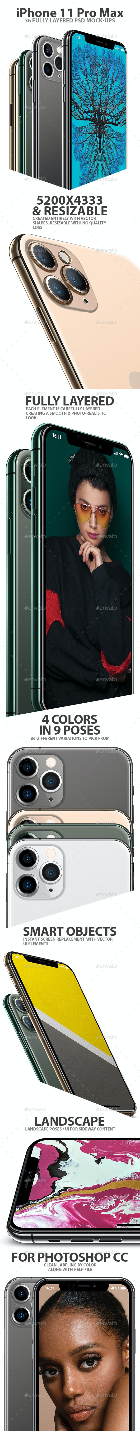 iPhone 11 Pro Layered PSD Mock-ups in 4 Colors - Mobile Displays