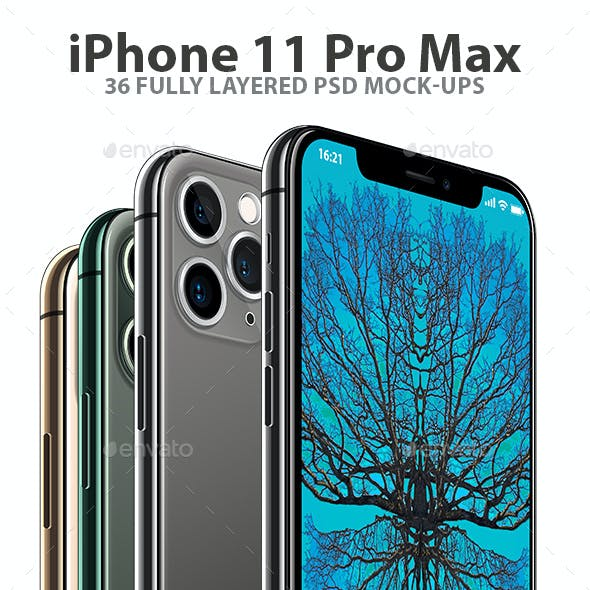 iPhone 11 Pro Layered PSD Mock-ups in 4 Colors