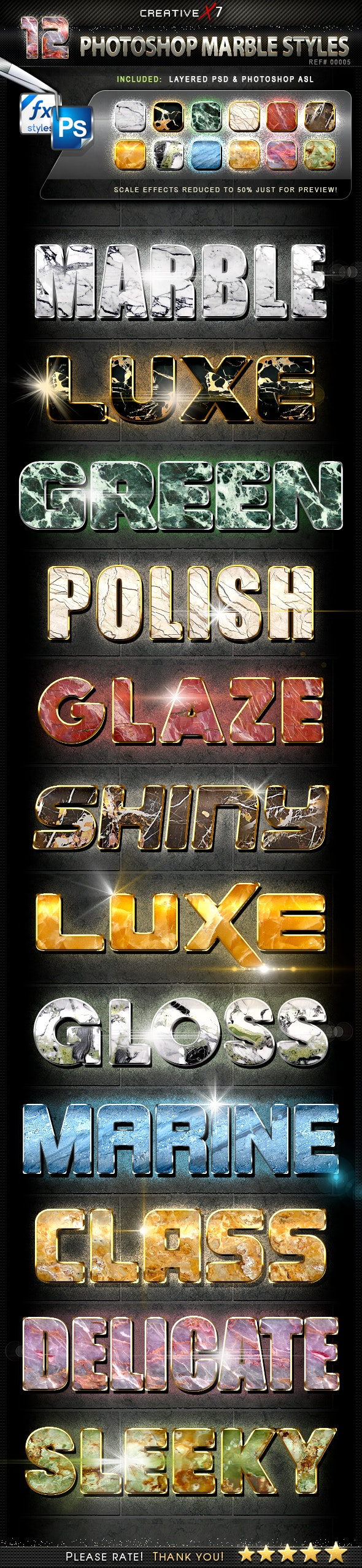 CreativeX7 - 12 Photoshop Marble Styles - Text Effects Styles