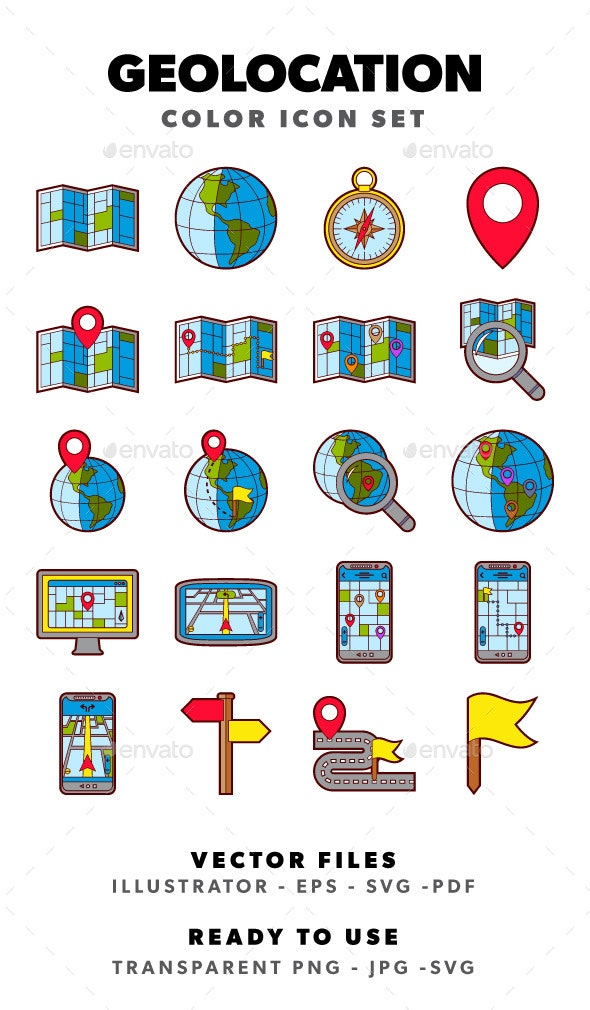 Geolocation - Color Icon Set - Miscellaneous Icons