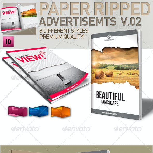 InDesign Magazine Paper Ripped Ad v.2 // 8 Styles