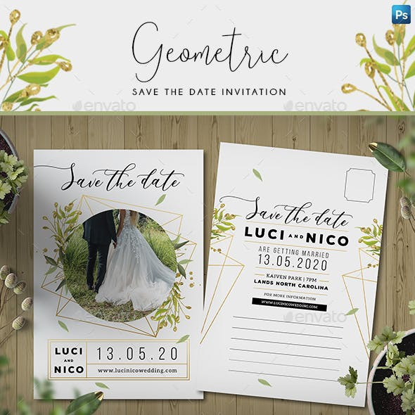 Geometric Save the Date Invitation