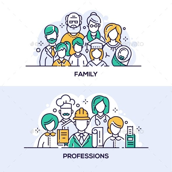 Family and Professions Vector Banner Templates Set