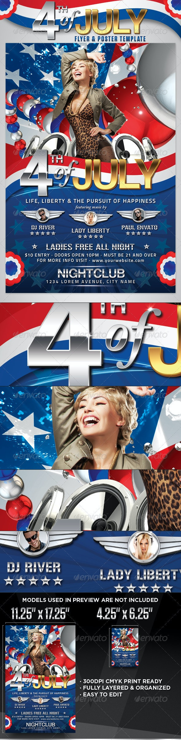 4th of July Flyer and Poster Template - Holidays Events