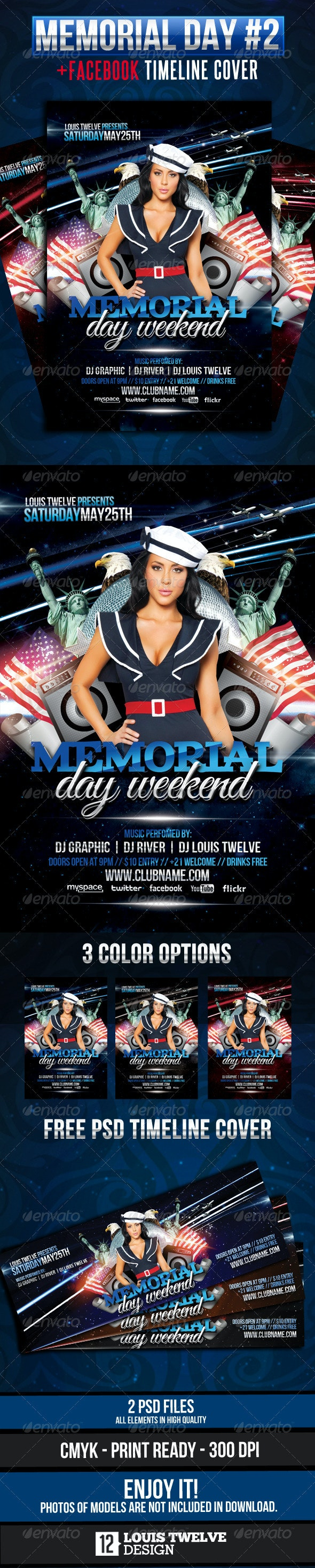 Memorial Day Weekend Flyer + Facebook Cover - Clubs & Parties Events