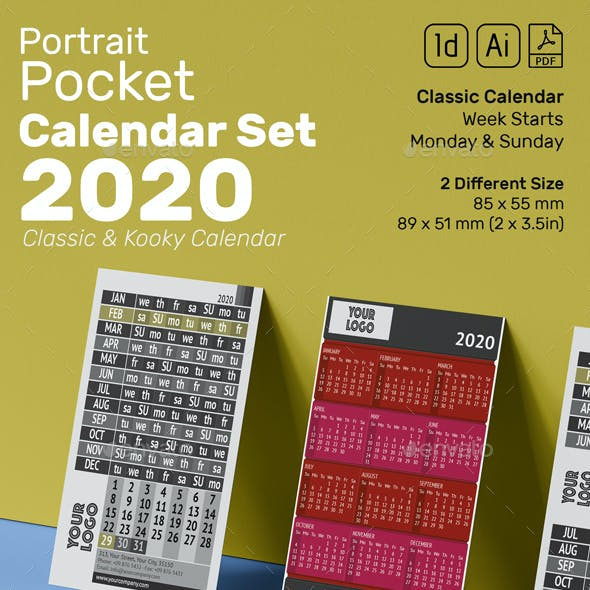 Pocket Calendar 2020 Set / New Kooky