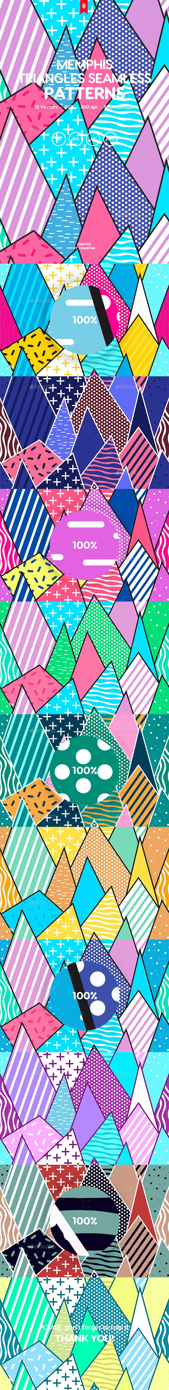 Memphis Triangles Seamless Patterns - Patterns Backgrounds