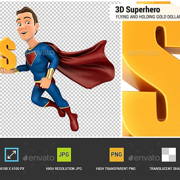 3D Superhero Flying and Holding Gold Dollar Sign