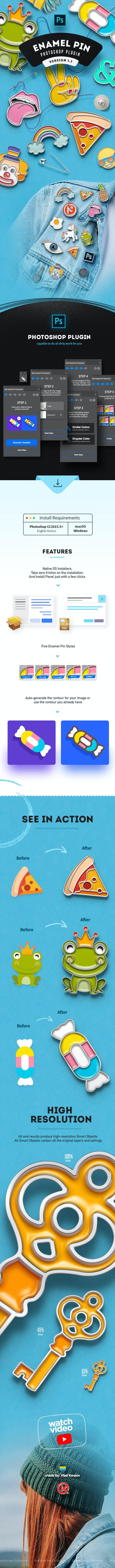 Enamel Pin - Actions Photoshop