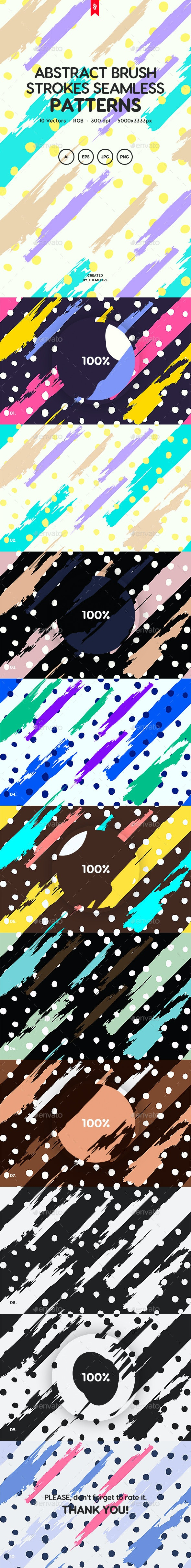 Brush Strokes with Dots Seamless Patterns - Backgrounds Graphics