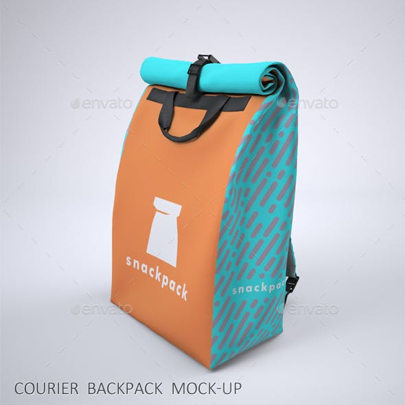 Courier Roll Top Backpack Mock-Up