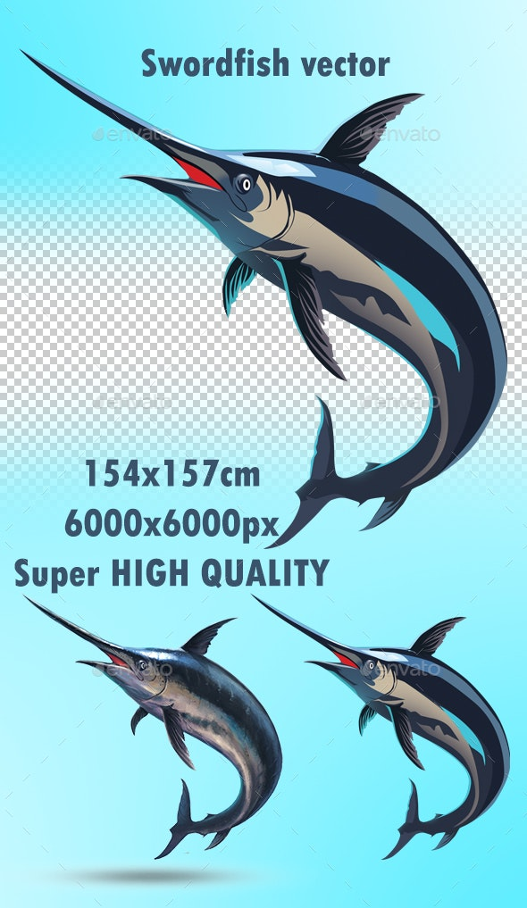 Swordfish Vector Png - Animals Characters