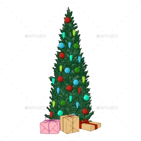 Cartoon Christmas Tree.Vector Cartoon Christmas Tree