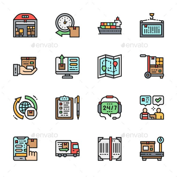 Set Of Logistics And Delivery Color Icons. Pack Of 64x64 Pixel Icons
